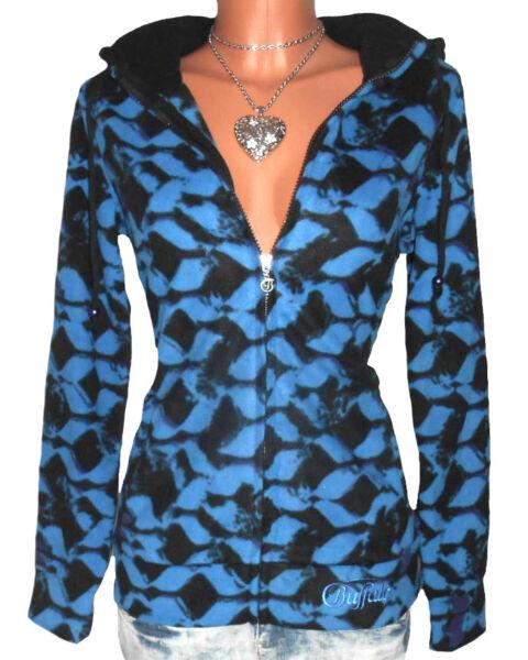 BUFFALO Fleece Jacke GR. 36 38 Kapuzenjacke blau schwarz Damen NEU