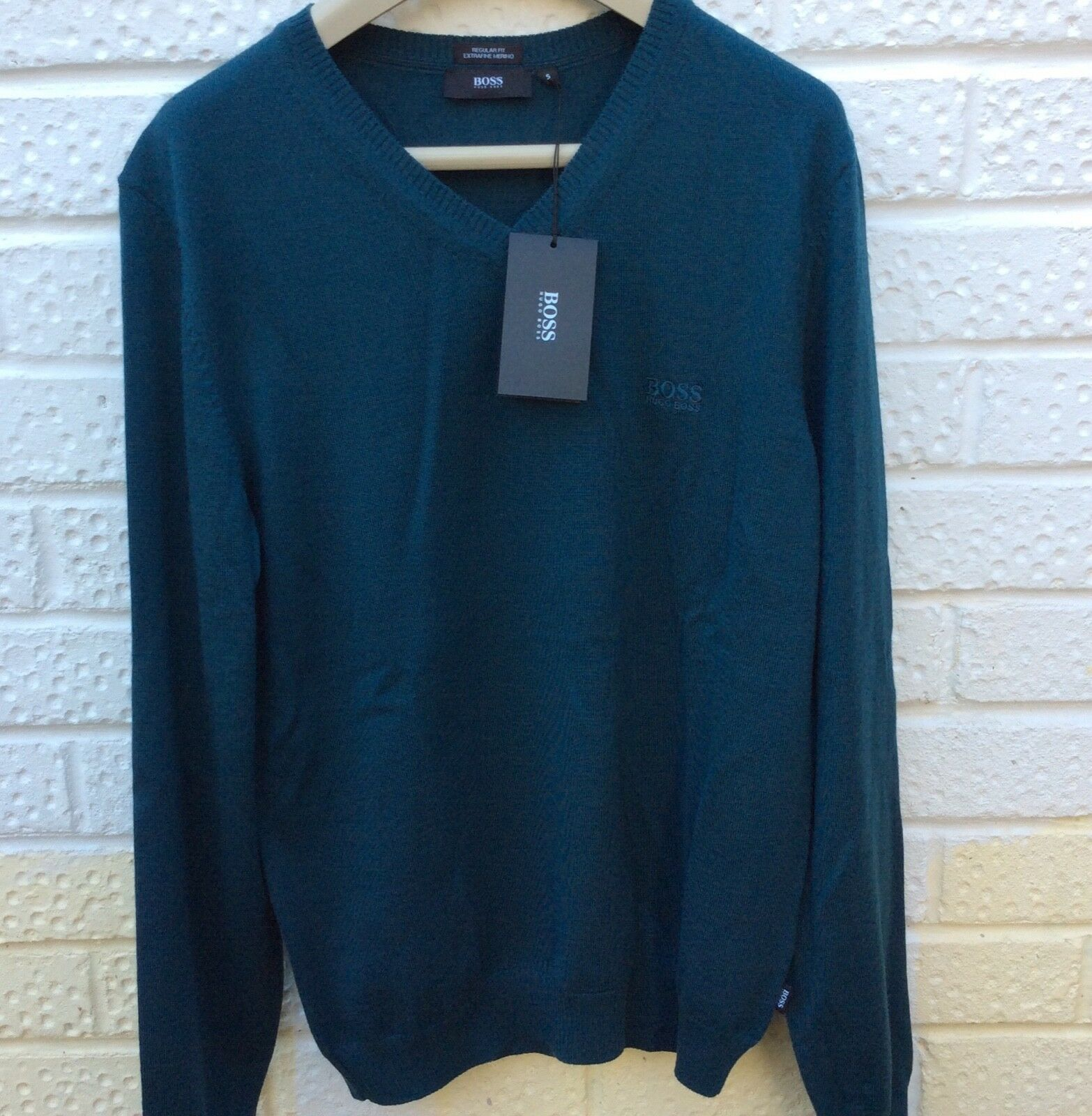 8c14160ce HUGO BOSS Woolly Mens Jumper Small Small Small Teal bluee NEW c47a62 ...