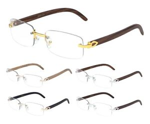 image is loading luxe dapper rimless sun eye glasses clear rectangle - Wood Frame Glasses