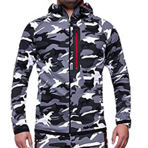 Camo Men Winter Zip up Hoodie Warm Hooded Sweatshirt Coat Jacket Outwear Tops