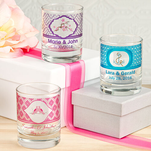 50 Personalized Shot Glass   Candle Holders W  Display Boxes Wedding Favors