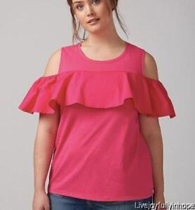 bda33e47e8e980 LANE BRYANT ~NEW! 14 16 ~Pink or White Cold Shoulder Mixed Flutter ...