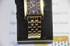 24K Gold Plated Sekonda Mens Analogue Square Wrist Watch Stainless Steel 1093