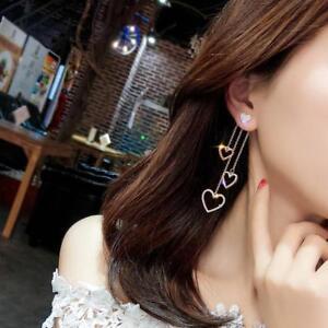 Fashion-Korean-Women-Asymmetric-Heart-Long-Tassel-Drop-Earrings-Jewelry-FW