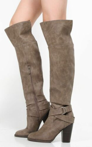 Breckelles Women Strap Ring Buckle Chunky Heel Knee High Boots #HEATHER-37