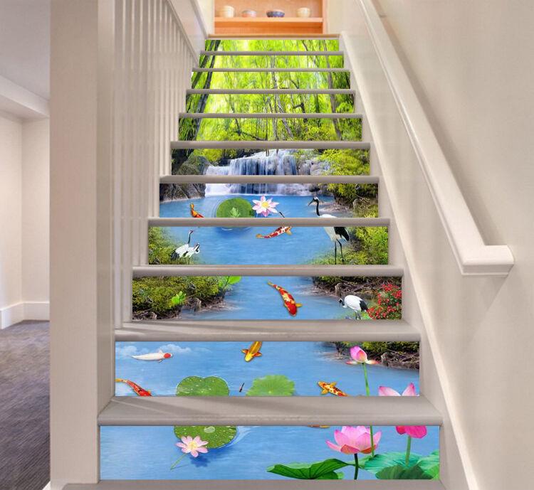 3d Poisson Étang 57 Stair Risers Décoration Papier Peint Vinyle Autocollant Papier Peint De