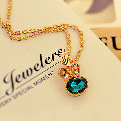 Rabbit Pandent Green Crystal Womens Bib Gold Plated Chain Jewelry Necklace