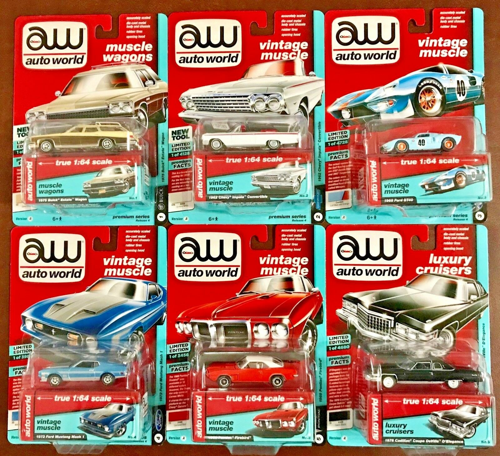 Auto World 2018 Premium Series Release 4 Version A  AW64192 (Complete Set of 6)
