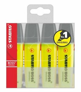 Stabilo-BOSS-Original-Yellow-Highlighter-Pens-Markers-Wallet-of-4