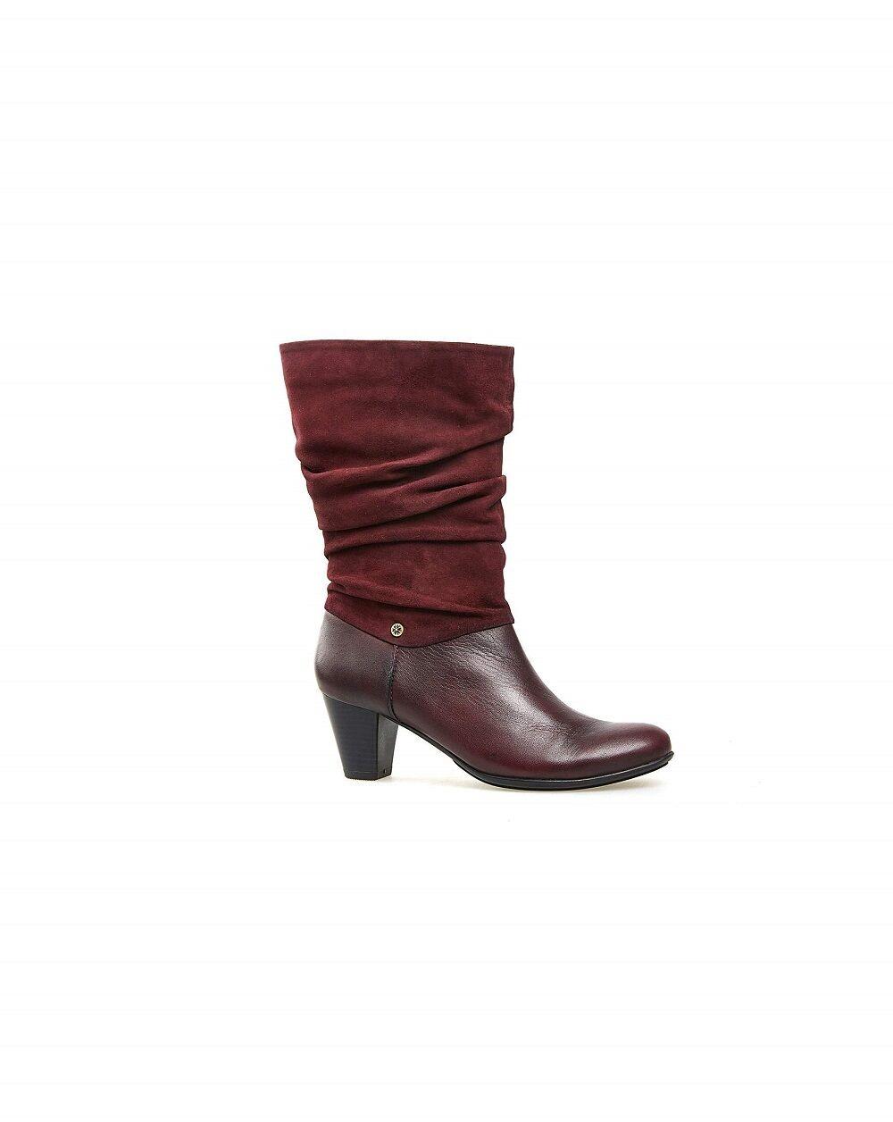 Grandes zapatos con descuento Van Dal Media Caña Botas ' KLINE ' PORT / Rojo Cuero Y ANTE