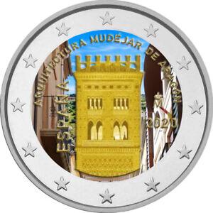 2-Euro-Gedenkmuenze-Spanien-2020-coloriert-Farbe-Farbmuenze-Unesco-Aragon-s