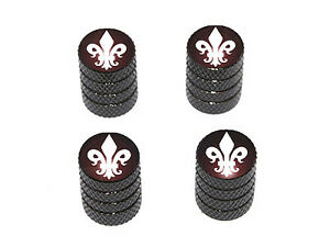 Fleur-de-Lis-Saints-Tire-Rim-Valve-Stem-Caps-Black