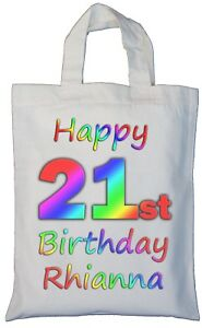 Image Is Loading PERSONALISED 21st BIRTHDAY COTTON GIFT BAG Present