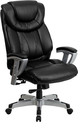 Big And Tall Black Leather Executive Office Desk Chair With Arms 400 Lb  Capacity | EBay