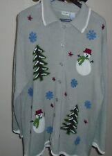Ugly Christmas Sweater Plus Size 2X (22W/24W)  Winter Theme Cardigan Sweater