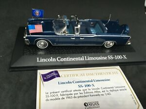 LINCOLN-CONTINENTAL-LIMOUSINE-SS-100-X-KENNEDY-1963-NOREV-ATLAS-1-43-neuf