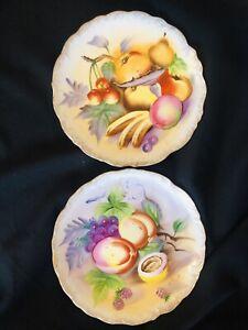 """S. kuzuya Vintage Plaque Fruit Pomme Poire Cerise Pêche porcelaine festonné 8"""" S/2"""