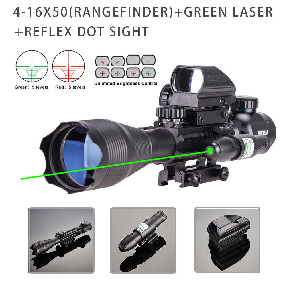 4-16x50 3in1 Combo Rangefinder Rifle Scope W Green Laser &Reflex Dot Sight Scope