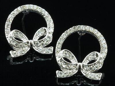 Sparkly Austrian Clear Crystal Rhinestone wreath bowtie Stud Earring jewelry T06