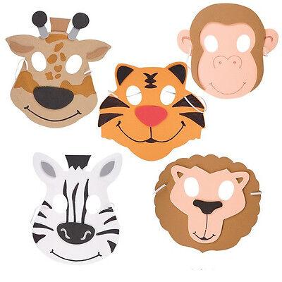 12  ~ Zoo Animal MASKS ~ Foam ~ NEW ~ Jungle Safari Animal Masks
