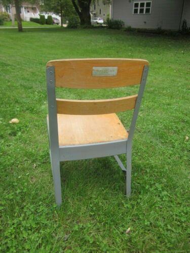 vintage Industrial Child School Chair wood with metal frame