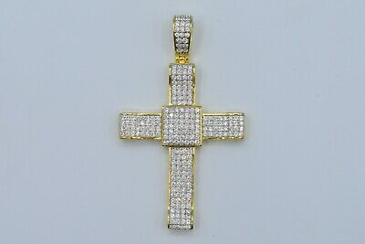 Silver Yellow Plated Cross Charm 39mm