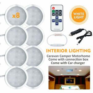 8PCS-Interior-Dome-Lamps-Car-Caravan-Camper-Warm-Light-Led-Controller-Charger