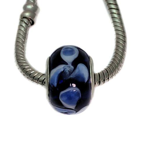 Azul y Blanco Cristal Espaciador encanto grano para pulseras europeas