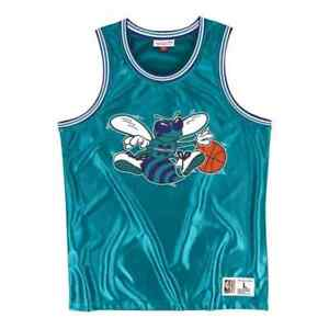 Charlotte-Hornets-Mitchell-amp-Ness-NBA-Men-039-s-Dazzle-Classic-Jersey-Blue-New