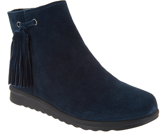 Vaneli Suede Ankle Stivali with Tassel - Dommie 10W Wide Donna Navy New