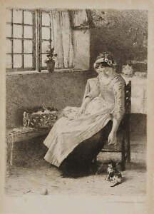 Henrik NORDENBERG (* 1857) Junge Frau mit Katze, 1880/1900, Radierung
