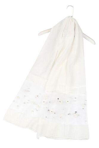 Organza Silk Scarf White Blue Grey Pearl Floral Wedding Wrap Party Cruise Pearls