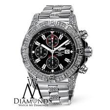 Mens Breitling Super Avenger A13370 Black Dial Watch Diamond Bezel, Case, Lugs
