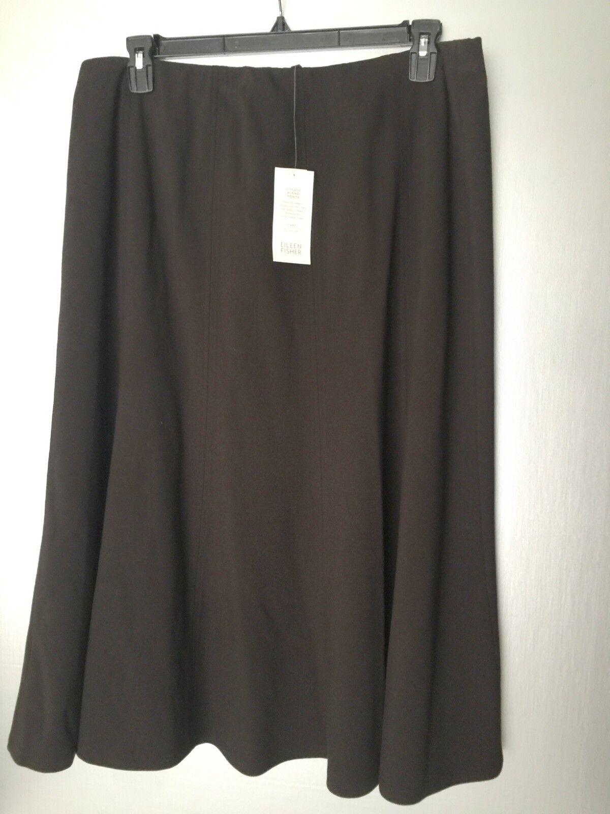 Eileen Fisher Chocolate Brown Viscose Blend Ponte Gored Paneled Skirt XL
