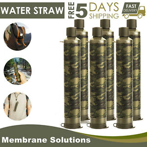 1-3-6 Pack Personal Survival Water Filter Straw Outdoor Camping Hiking Emergency