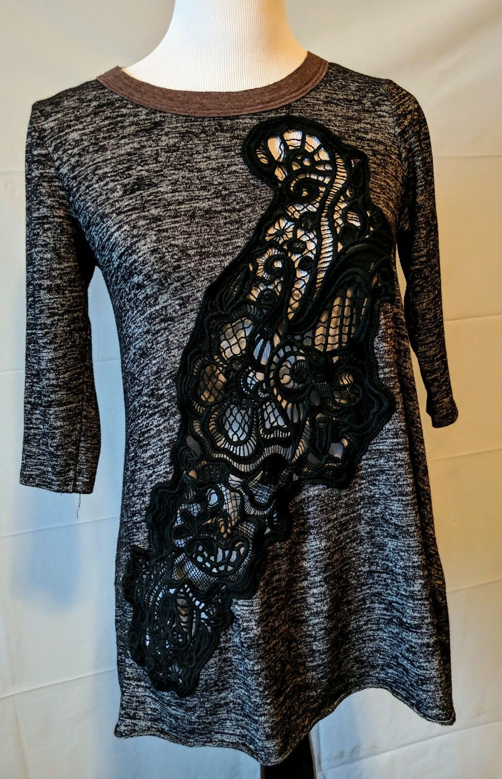 Free People Paisley Cut Out Short Sleeve Top Tunic Medium