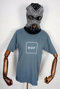 Huf Worldwide Skateboard T-Shirt Tee Shirt Box Logo Blue Mirage in M