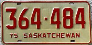 1975 Saskatchewan Canada License Canadian Licence Plate 364-484