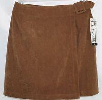 F.l. Malik Women's 10 Brown Above Knee Microsuede Wrap 30 In Waist Skirt