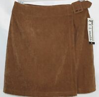 F.l. Malik Women's 10 Brown Above Knee Microsuede Wrap 30 In Waist Skirt