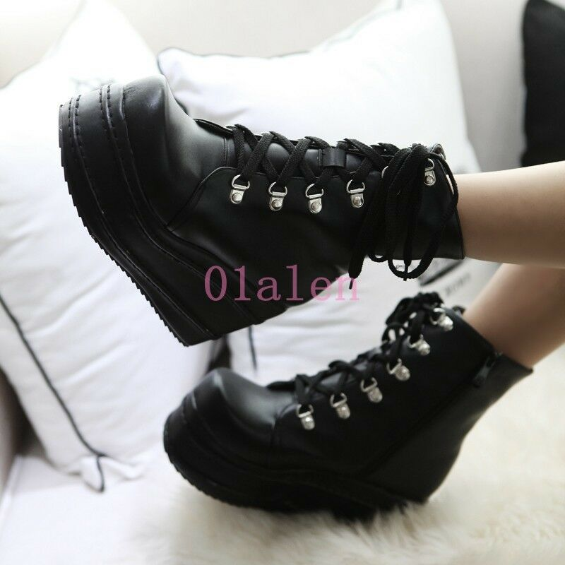 Women's High Heel Wedge Creeper Platform Ankle Boot High Top Mary Jane Plus Size