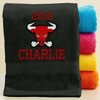 Personalized Towel With Free Custom Embroidery - Embroidered Mascot Theme Towel