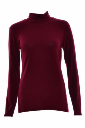 Femme Femmes Manches Longues Col Polo Stretch Haut Col Roulé Pull Tailles 8-26