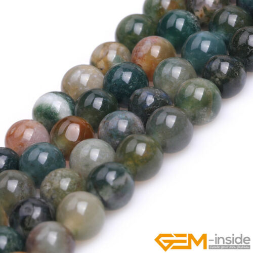"""Natural Multicolor India Agate Round Loose Beads for Jewelry Making 15/"""" Big Hole"""