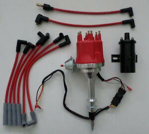 Small Cap AMC/JEEP INLINE 6 232-258 HEI Distributor +RED Plug Wires + BLACK  COIL | eBayeBay