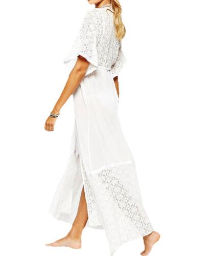 UK Femmes Dentelle Crochet robe de plage Cover Up Maillots de bain Summer Fun Caftan Femmes