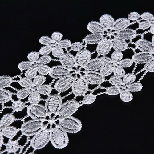 1PC Embroidered Floral Lace Neckline Neck Collar Trim Clothes Sewing Patch CL