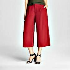 New with Tags! Merona Ladies Deep Garnet Rayon Blend Culottes Pants - Sz 10