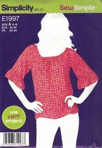 Simplicity-1997-Misses-Pullover-Top-Elasticized-Neck-Size-16-Sew-Simple-E1997