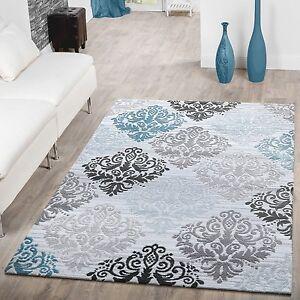 Teppich design weiss  Teppich Modern Glitzergarn Kurzflor Barock Design Türkis Grau Weiß ...
